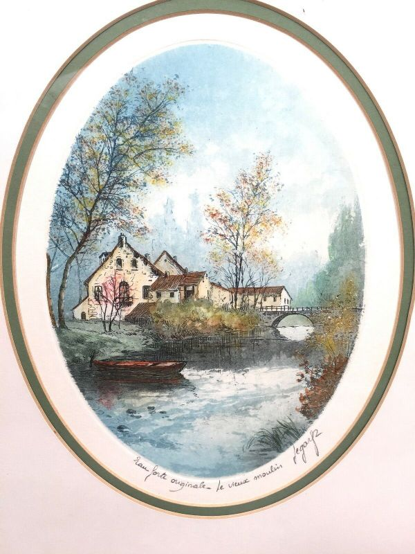Lucien Veder Art Watercolour Etching Drawing Pair 'Le Vieux Moulin' The Old Mill